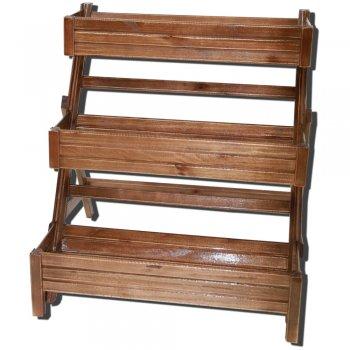 Escada de Madeira Ripada para 3 Jardineiras